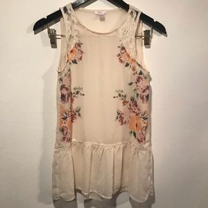 Ivory Sheer Peplum Floral & Lace Tank 🌸